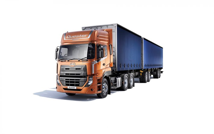 UD Quester, truck with trailer on white background, cargo transportation, cargo delivery, UD Trucks