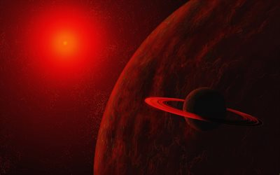 red planet, saturn, 4k, 3D art, asteroids, galaxy, nebula, planets, red star