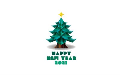 2021 Christmas White Background Download Wallpapers Happy New Year 2021 3d Christmas Tree 2021 New Year White Background Green 3d Tree Christmas 2021 Concepts For Desktop Free Pictures For Desktop Free