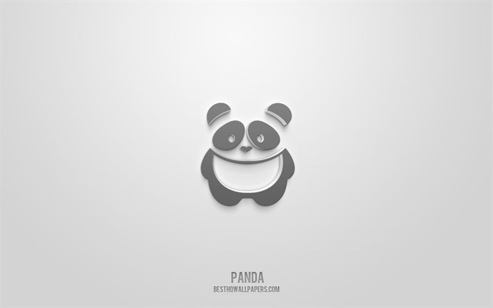 Funny panda 3d icon, white background, 3d symbols, Funny panda, Animals icons, 3d icons, Funny panda sign, Animals 3d icons, panda 3d icon