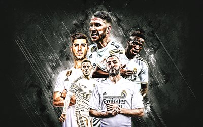 Le Real Madrid, l'espagnol football club, pierre grise, de fond, de La Liga, Espagne, football, Real Madrid CF, Sergio Ramos, Eden Hazard, Marco Asensio
