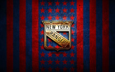 new york rangers-flag, nhl, blau, rot, metall, hintergrund, amerikanische eishockey-team new york rangers logo, usa, hockey, golden logo, new york rangers