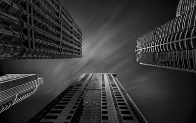 skyscrapers, black and white, sky house, height