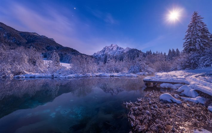 scarica sfondi montagne inverno notte lago di montagna