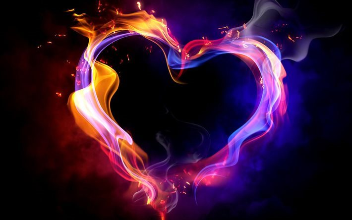 heart, fire, flame, fiery heart, smoke