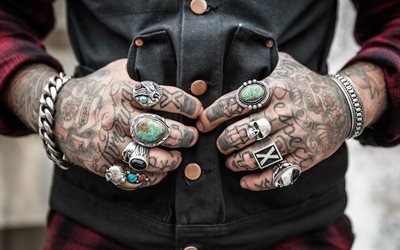 tattoos, rings, hands, tattoo on hands