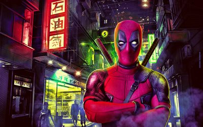 4k, Deadpool, street, superhjältar, Marvel Comics, Deadpool på gatan, Deadpool 4k