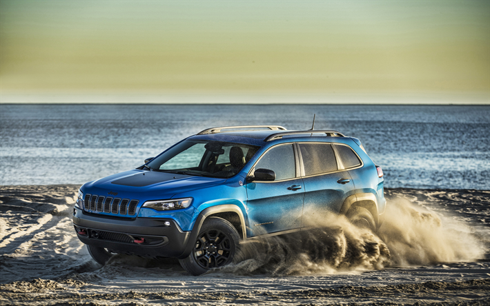 Download Wallpapers Jeep Cherokee, Offroad, 2019 Cars
