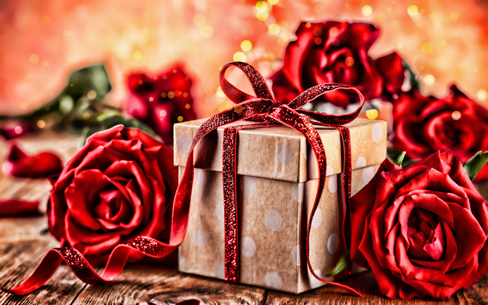 Valentines Day, 4k, February 14, gift box, red roses, macro, love concept, Valentines Day gift, Saint Valentines Day