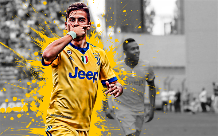 wholesale dealer 945c2 10cb5 Download wallpapers Paulo Dybala, Juventus FC, Turin, yellow ...