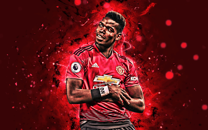 Download Wallpapers 4k, Paul Pogba, Joy, Manchester United