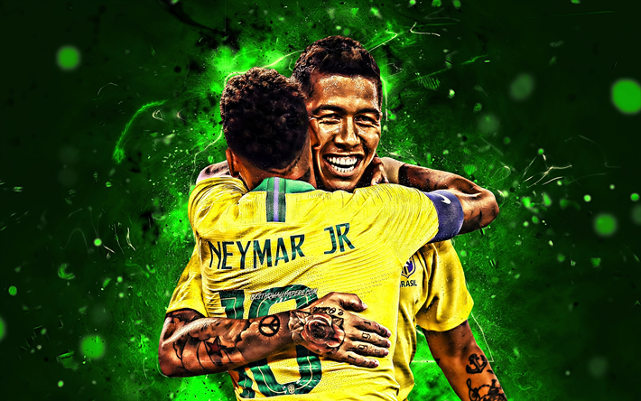 Download Wallpapers Roberto Firmino, Neymar, Goal