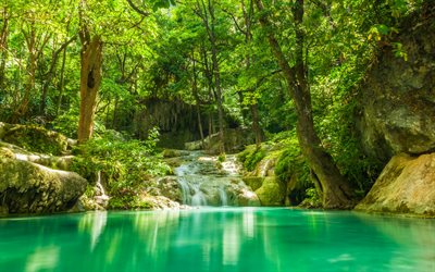 tropical forest, waterfall, blue lake, Thailand, beautiful waterfalls