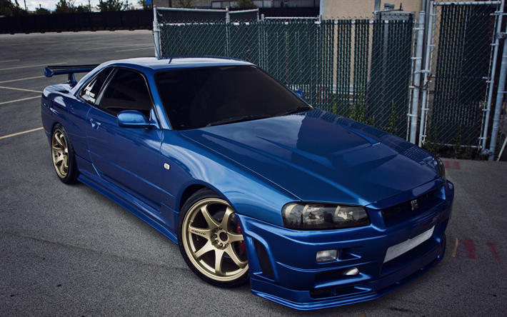 Download Wallpapers 4k Nissan Skyline Tuning Nissan Gt R R34 Blue Skyline Nissan For Desktop Free Pictures For Desktop Free