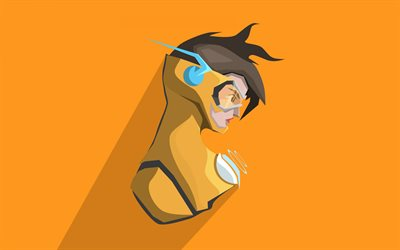 Tracer, yellow background, cyber warrior, Overwatch