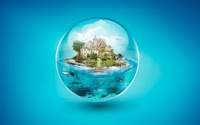 4k, sphere, island, shark, creative, art, underwater world
