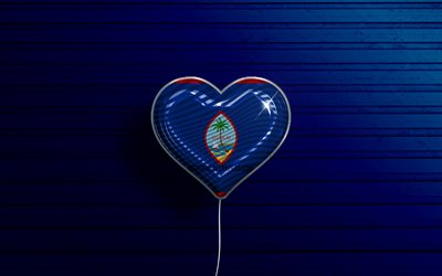 I Love Guam, 4k, realistic balloons, blue wooden background, Oceanian countries, Guam flag heart, favorite countries, flag of Guam, balloon with flag, Guam flag, Oceania, Love Guam
