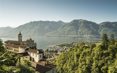 Madonna del Sasso Sanctuary, Lake Maggiore, Alps, Madonna del Sasso, Ticino, Locarno, morning, mountain landscape, beautiful lake, Italy