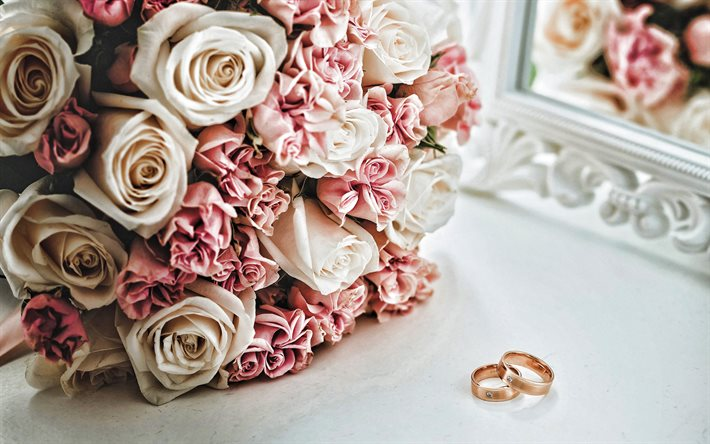 Gold wedding rings, bridal bouquet, roses, wedding, rose bouquet, gold rings