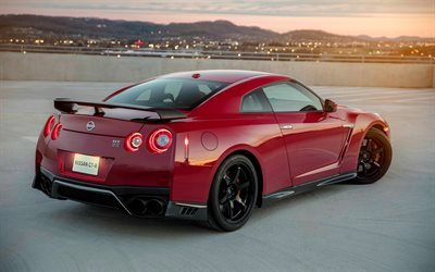Nissan GT-R, 2017, Track Edition, Rear view, sport car, red GT-R, Nissan