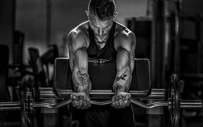 Download wallpapers Bodybuilding, barbell, biceps