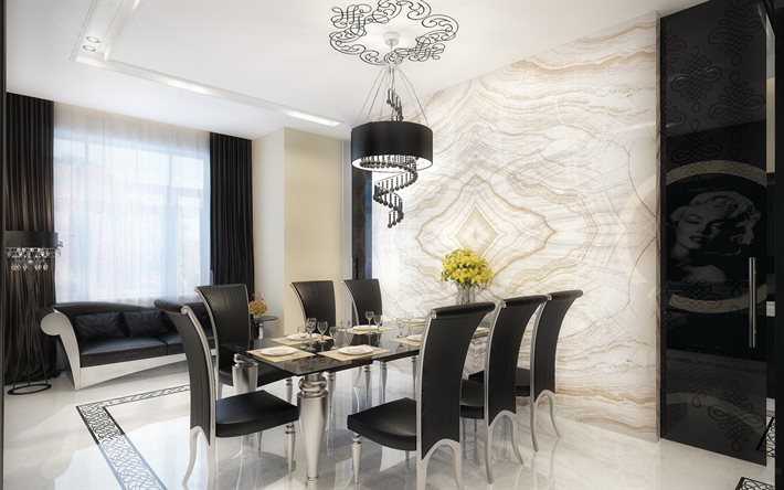 Scarica sfondi Design moderno, soggiorno, mobili bianchi e neri ...