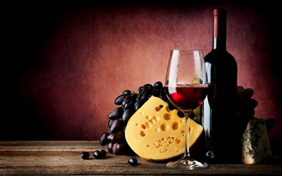 glass of wine, red wine, grapes, French cheese, bottle of wine