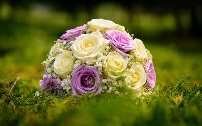Download wallpapers wedding bouquet purple roses yellow roses wedding bouquet purple roses yellow roses bridal bouquet yellow purple bouquet mightylinksfo