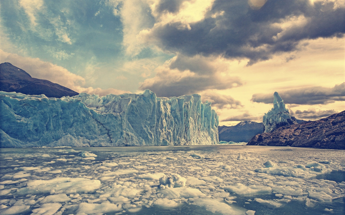 Download Wallpapers Glacier Blocks Of Ice Mountain
