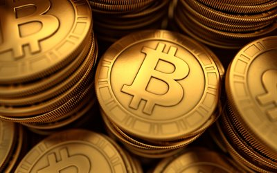 bitcoin, electronic money, gold 3d coins, currency, finance concepts, cryptocurrencies