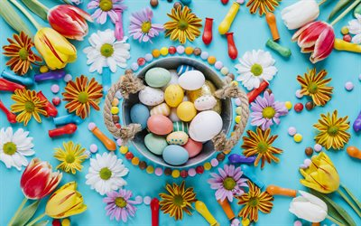 Easter, 4k, flowers, Happy Easter, easter decoration, Easter eggs