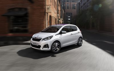 Peugeot 108, 2018, compact hatchback, exterior, 4 doors, new white 108, French cars, Peugeot