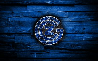 Grasshoppers FC, burning logo, Switzerland Super League, blue wooden background, swiss football club, Grasshopper Club Zurich, grunge, football, soccer, Grasshoppers logo, Zurich, Switzerland