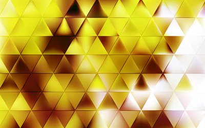 golden triangle background, abstract golden backgrounds, creative background, geometric backgrounds