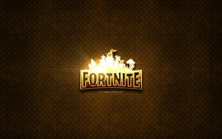 Download Wallpapers Fortnite Golden Logo 2019 Games Metal Background Fortnite Logo Creative Fortnite For Desktop Free Pictures For Desktop Free