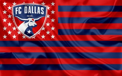 FC Dallas, American soccer club, American creative flag, blue-red flag, MLS, Dallas, Texas, USA, logo, emblem, Major League Soccer, silk flag, soccer, football
