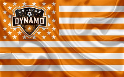 Houston Dynamo, American soccer club, American creative flag, orange white flag, MLS, Houston, Texas, USA, logo, emblem, Major League Soccer, silk flag, soccer, football