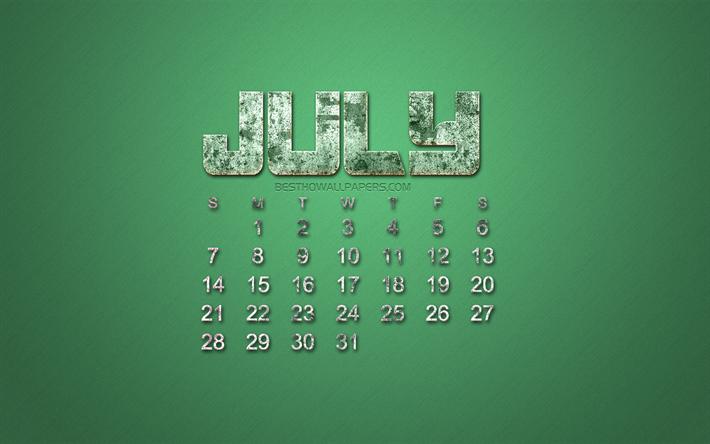 Calendario 31 Luglio 2019.Scarica Sfondi 2019 Luglio Calendario Grunge Stile Verde