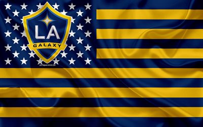 Los Angeles Galaxy, American soccer club, American creative flag, blue yellow flag, MLS, Los Angeles, California, USA, logo, emblem, Major League Soccer, silk flag, soccer, football