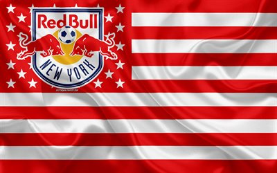 New York Red Bulls, American soccer club, American creative flag, red white flag, MLS, New York, USA, logo, emblem, Major League Soccer, silk flag, soccer, football