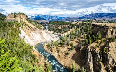 Yellowstone River, mountain river, spring, mountain landscape, Rocky Mountains, Missouri, USA