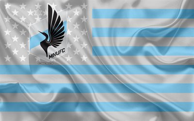 Minnesota United FC, American soccer club, American creative flag, blue gray flag, MLS, Minneapolis, Minnesota, USA, logo, emblem, Major League Soccer, silk flag, soccer, football