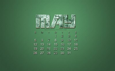 2019 May calendar, grunge style, green grunge background, 2019 calendars, May, Creative stone art, calendar for May 2019 concepts