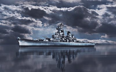 USS New Jersey, HDR, BB-62, sea, battleship, United States Navy, US army, US Navy
