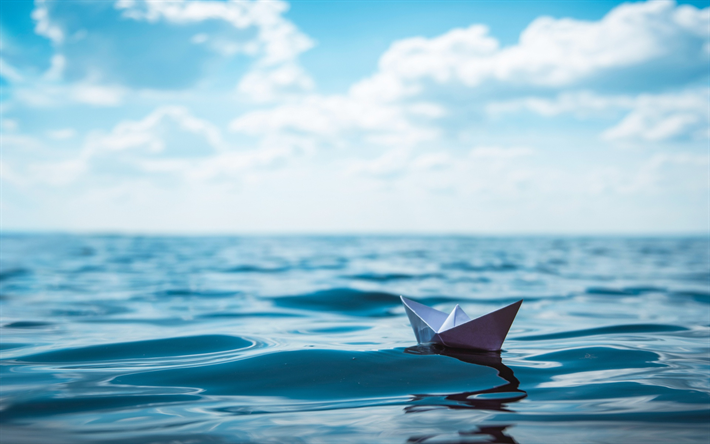 paper boat, waves, sea, travel concepts, origami, blue sky