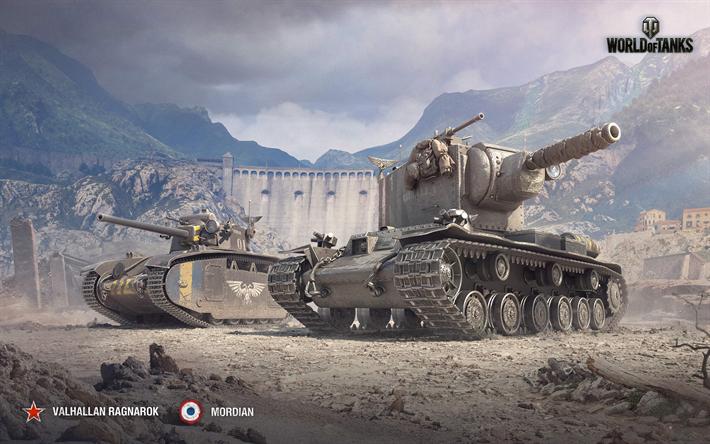 Download wallpapers World of Tanks, Char G1, KV-2, tanks