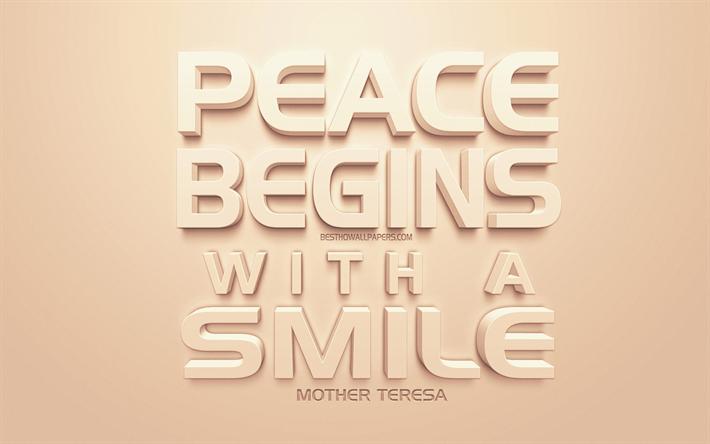 Scarica Sfondi La Pace Inizia Con Un Sorriso Madre Teresa