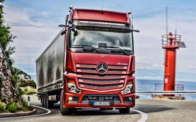 Mercedes-Benz Actros, road, HDR, 2019 truck, LKW, red truck, semi-trailer truck, 2019 Mercedes-Benz Actros, trucks, Mercedes
