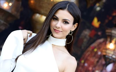 Victoria Justice, American actress, Hollywood star, portrait, photoshoot, white dress