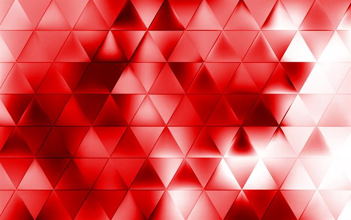 Scarica Sfondi Triangoli Rossi Sfondo Rosso Astrazione Creativo